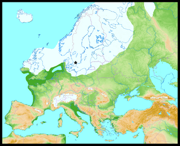 Europe and the Baltic area during the Weichslian glacation, ca 20,000 years ago. At the time, the ice sheet was at its maximum extent.